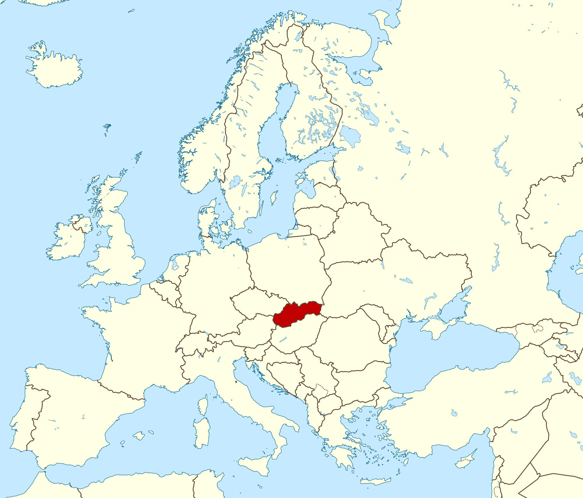 Slovacia Harta Europei Harta Slovacia Hartă A Europei Europa De