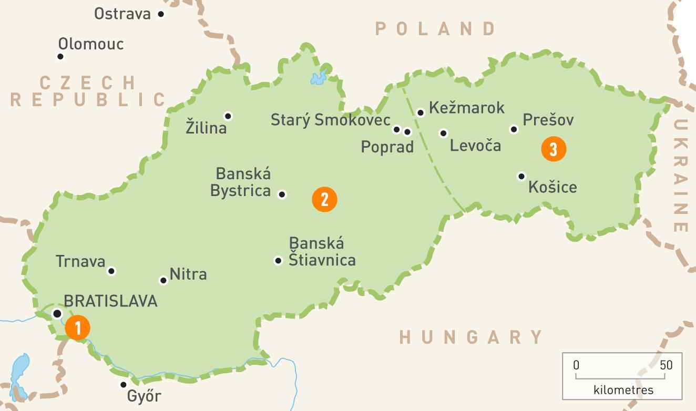 Slovacia Regiuni Hartă Harta Slovacia Regiuni Europa De Est
