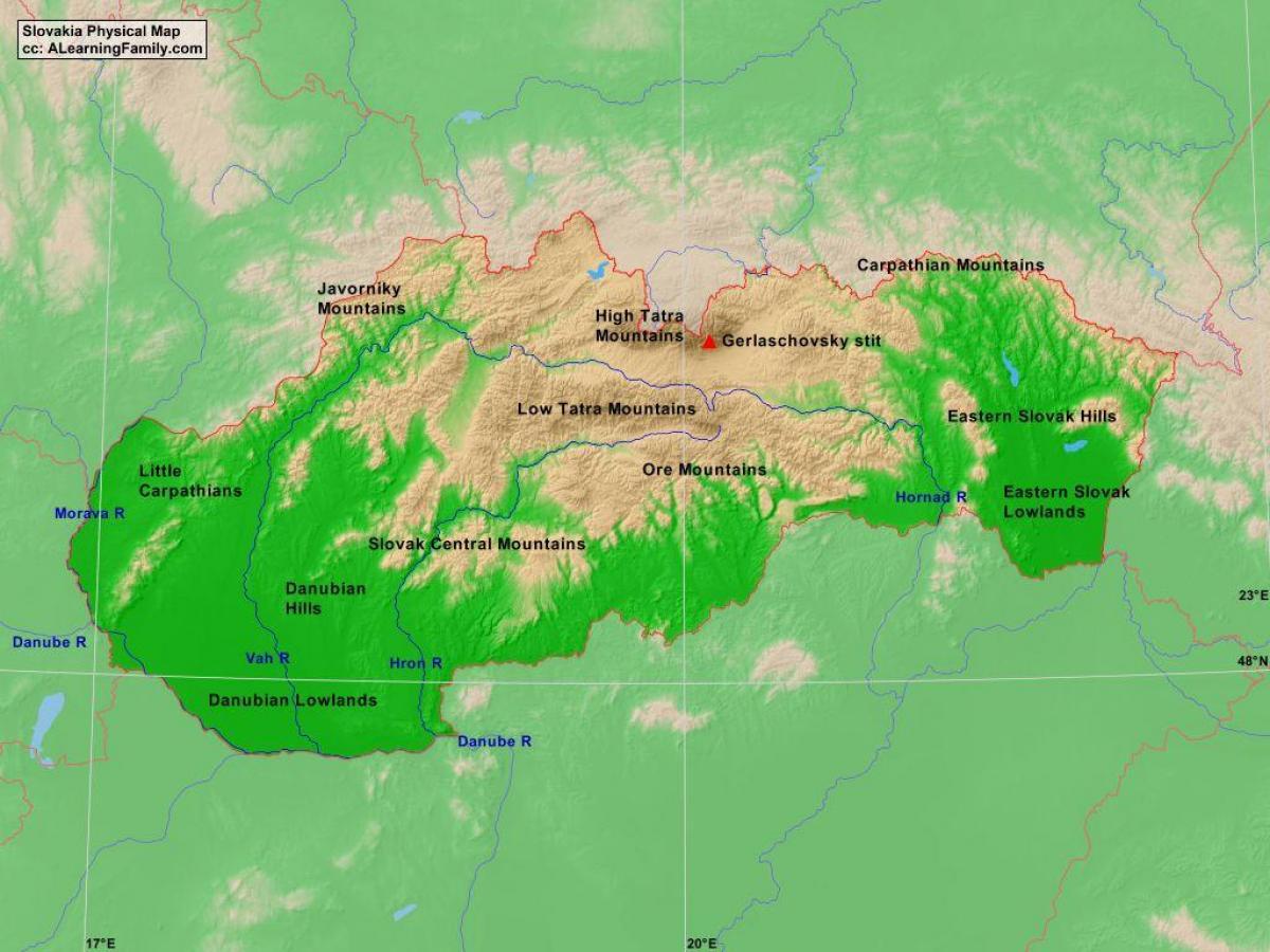 Slovacia Fizice Hartă Harta Slovacia Fizice Europa De Est Europa